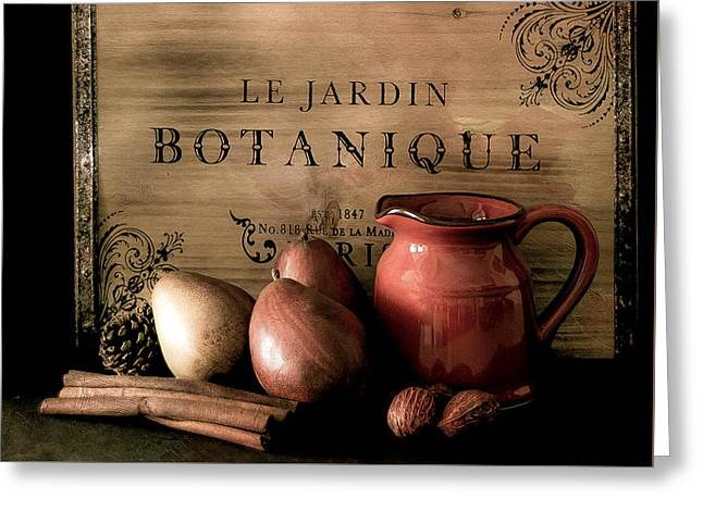 Vintage Still Life Food And Drink Greeting Card by Julie Palencia