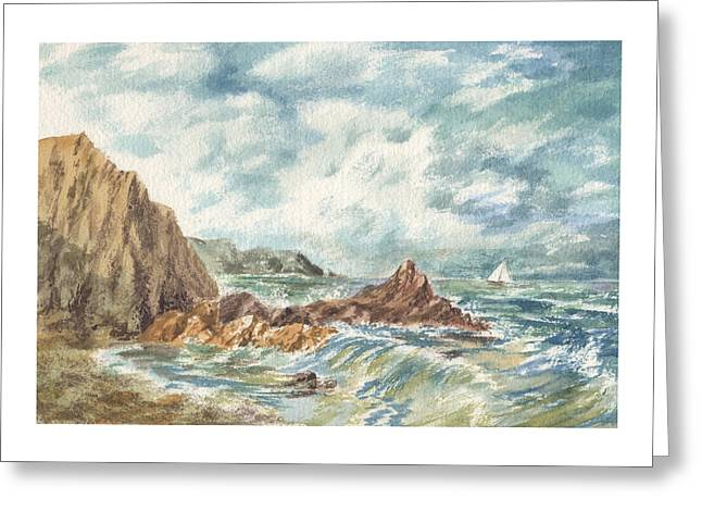 Sailboats In Harbor Greeting Cards - Vintage Storm At Rocky Shore Greeting Card by Irina Sztukowski