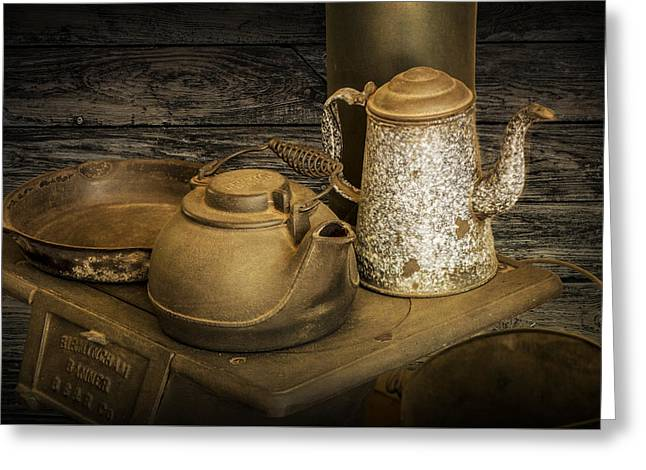 Teakettles Greeting Cards - Vintage Stovetop with Kettles Greeting Card by Randall Nyhof