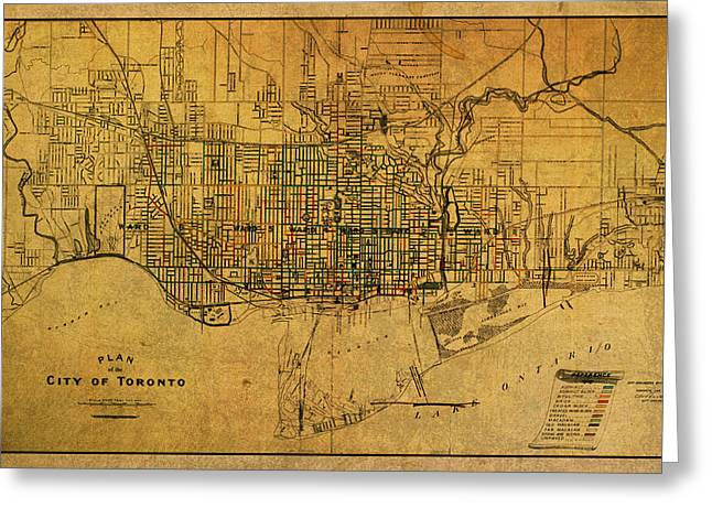 Vintage Map Mixed Media Greeting Cards - Vintage Street Map of Toronto Canada Circa 1907 on Worn Distressed Parchment Greeting Card by Design Turnpike