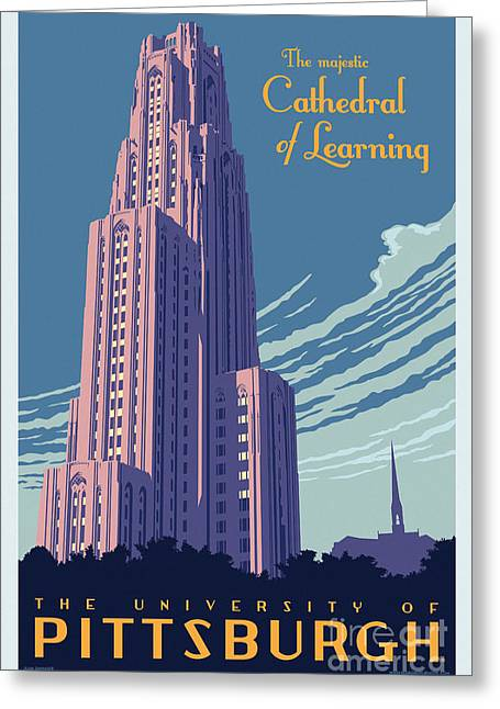 Clemente Greeting Cards - Vintage Style Cathedral of Learning Travel Poster Greeting Card by Jim Zahniser