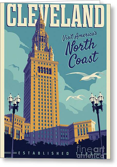 Vintage Style Cleveland Travel Poster Greeting Card by Jim Zahniser