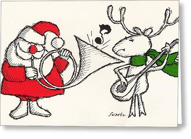 Playing Musical Instruments Greeting Cards - Vintage Style Of Santa Playing Greeting Card by Gillham Studios