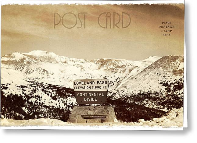 Winter Travel Greeting Cards - Vintage Style Post Card from Loveland Pass Greeting Card by Juli Scalzi