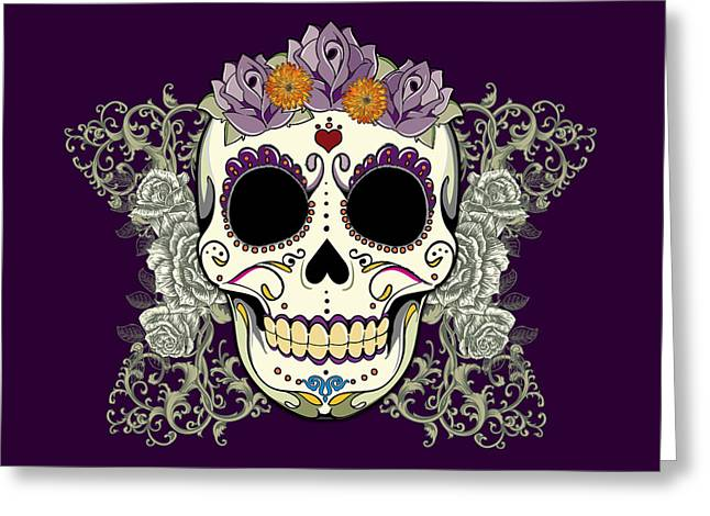 Purple Roses Greeting Cards - Vintage Sugar Skull and Flowers Greeting Card by Tammy Wetzel