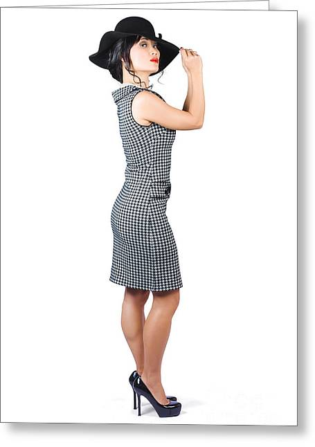 Good-looking Greeting Cards - Vintage summer clothes woman. Full length portrait Greeting Card by Ryan Jorgensen