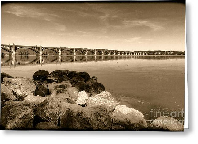 Vintage Susquehanna River Bridge Greeting Card by Olivier Le Queinec