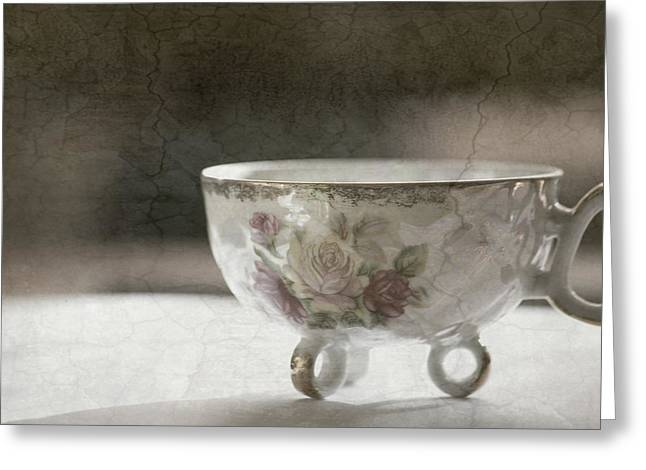 Affordable Kitchen Art Greeting Cards - Vintage Teacup Greeting Card by Bonnie Bruno
