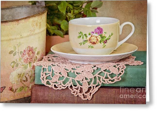 Cheryl Davis Greeting Cards - Vintage Teacup Greeting Card by Cheryl Davis
