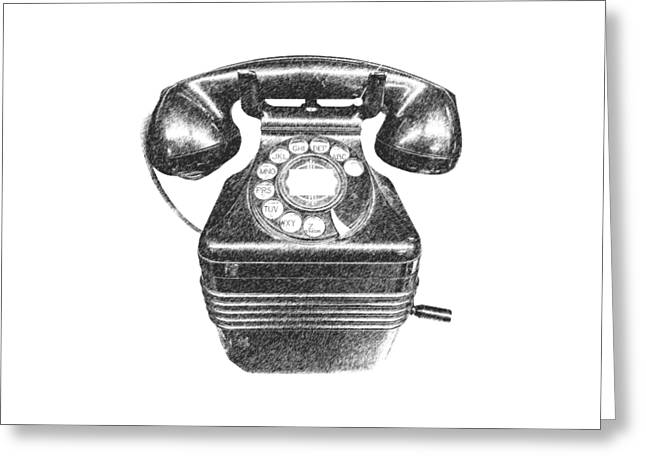 T Shirts Greeting Cards - Vintage Telephone Tee Greeting Card by Edward Fielding