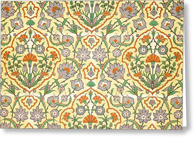 Organization Greeting Cards - Vintage Textile Pattern Greeting Card by Emile Prisse d