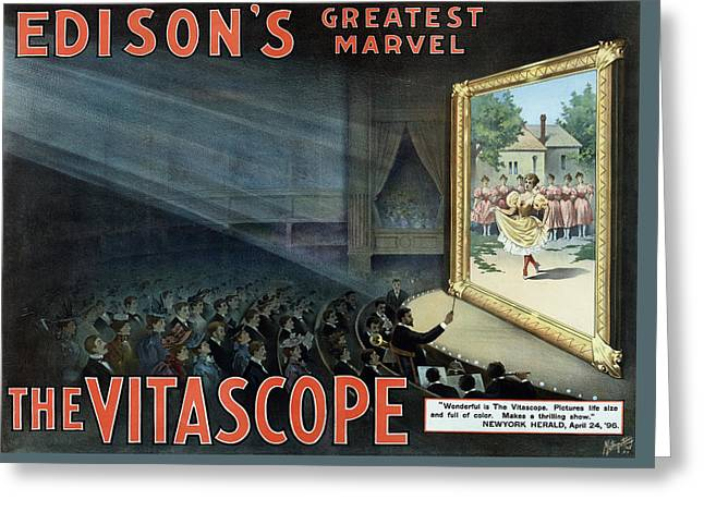 Vintage Thomas Edison Print - The Vitascope Greeting Card by War Is Hell Store