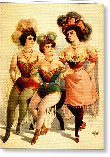 Night Cafe Drawings Greeting Cards - Vintage Three Burlesque Girls Pin-Up Greeting Card by Just Eclectic