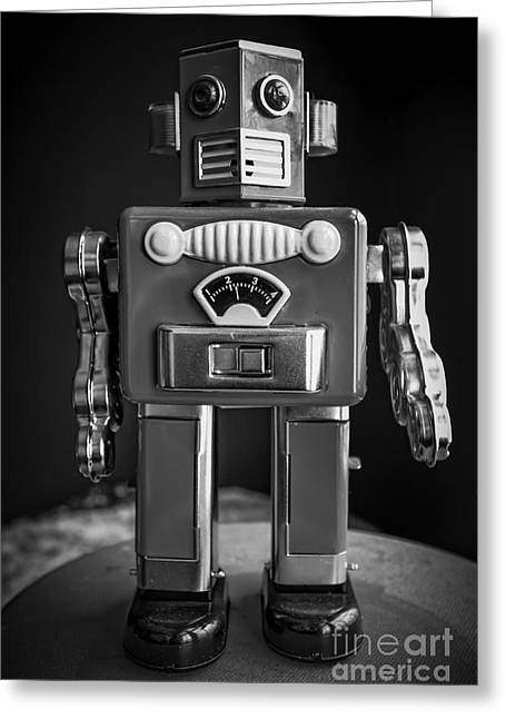 Space Man Greeting Cards - Vintage Tin Toy Robot Black and white Greeting Card by Edward Fielding