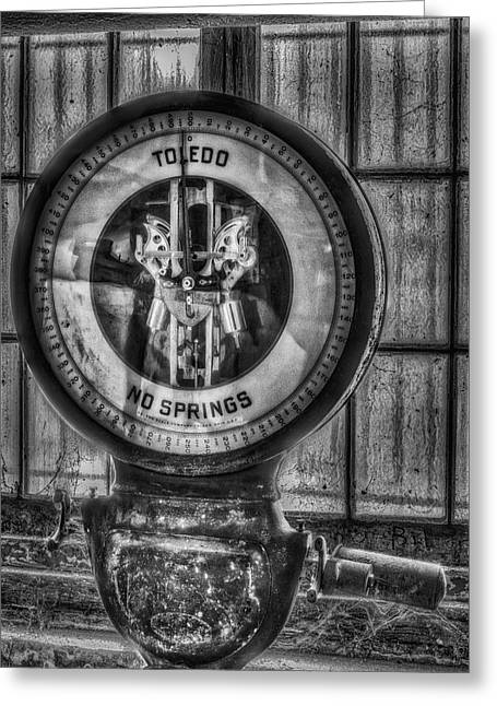 Mechanism Photographs Greeting Cards - Vintage Toledo No Springs Scale BW Greeting Card by Susan Candelario