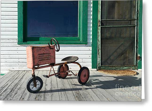 Screen Doors Greeting Cards - Vintage Toy Tractor Greeting Card by Catherine Sherman
