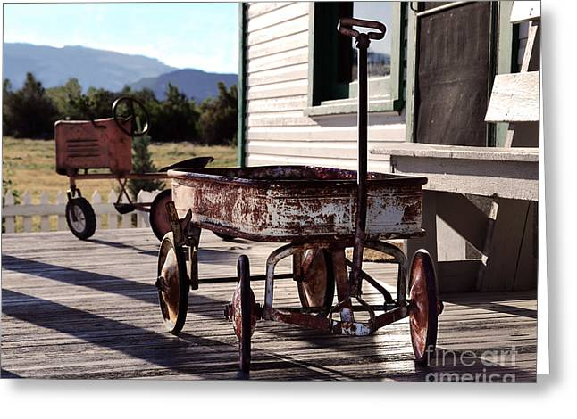 Catherine White Greeting Cards - Vintage Toy Wagon and Tractor Greeting Card by Catherine Sherman