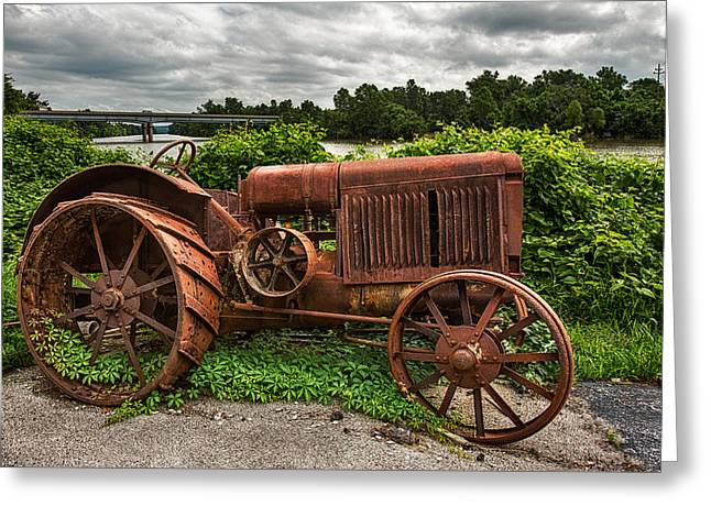 Old Feed Mills Greeting Cards - Vintage Tractor Greeting Card by Robert FERD Frank