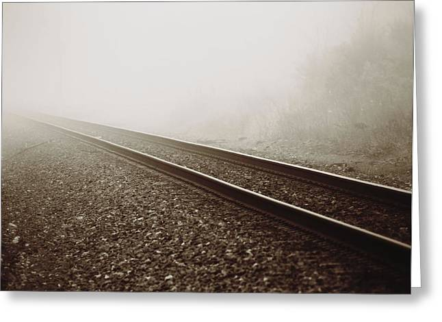 Goals In Life Greeting Cards - Vintage Train Tracks In Fog Greeting Card by Dan Sproul