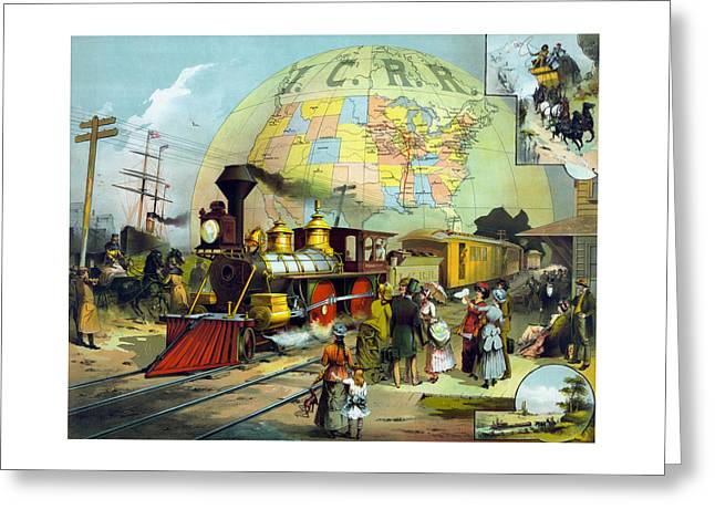 Train Stations Greeting Cards - Vintage Transcontinental Railroad Greeting Card by War Is Hell Store
