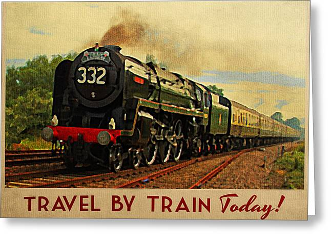 Vintage travel by train digital art by flo karp for Vintage train posters