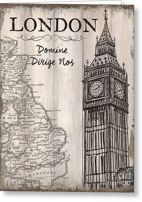 Vintage Travel Poster London Greeting Card by Debbie DeWitt