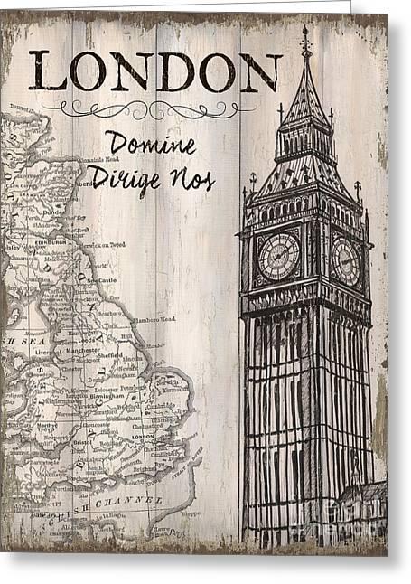 Vintage Travel Poster London Greeting Card by Debbie DeWitt