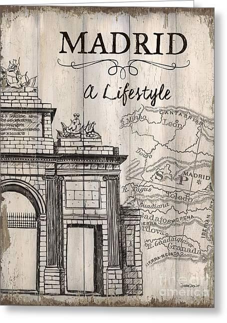Vintage Travel Poster Madrid Greeting Card by Debbie DeWitt