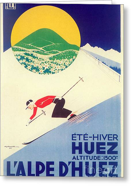 Vintage Travel Skiing Greeting Card by Mindy Sommers
