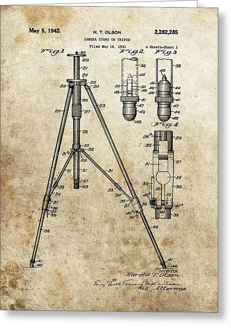 Old Camera Mixed Media Greeting Cards - Vintage Tripod Patent Greeting Card by Dan Sproul