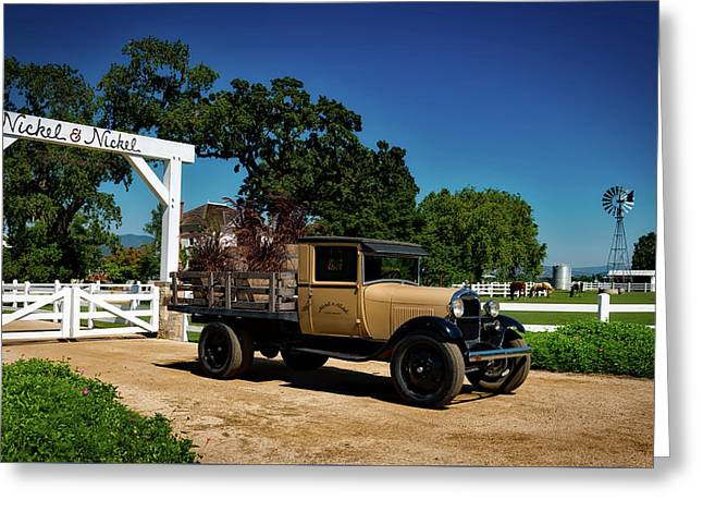 Vintage Truck At Winery Entrance Greeting Card by Mountain Dreams