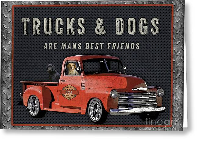 Vintage Truck Sign-jp3722r Greeting Card by Jean Plout