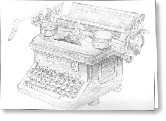 Typewriter Greeting Cards - Vintage Typewriter Sketch Greeting Card by Caffrey Fielding