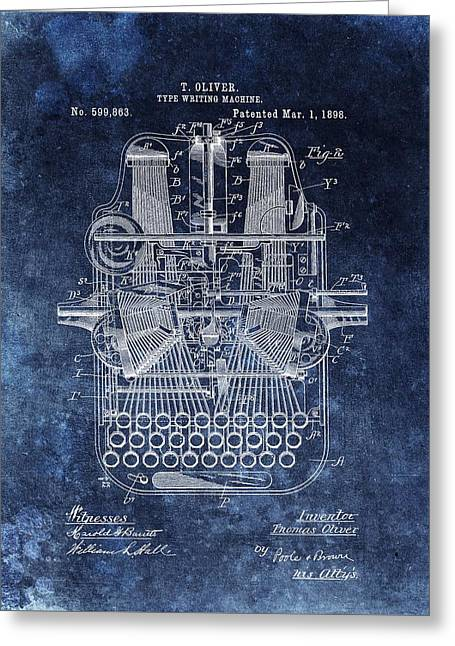 Vintage Typewriter Patent Greeting Card by Dan Sproul