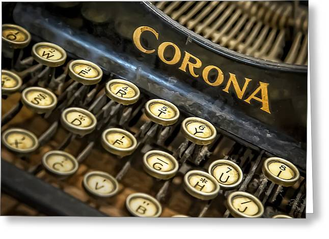 Words Photographs Greeting Cards - Vintage Typewriter Greeting Card by Scott Norris
