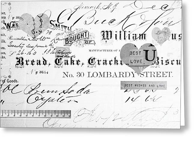 Award Mixed Media Greeting Cards - Vintage Billhead Script Collage Greeting Card by ArtyZen Studios - ArtyZen Home