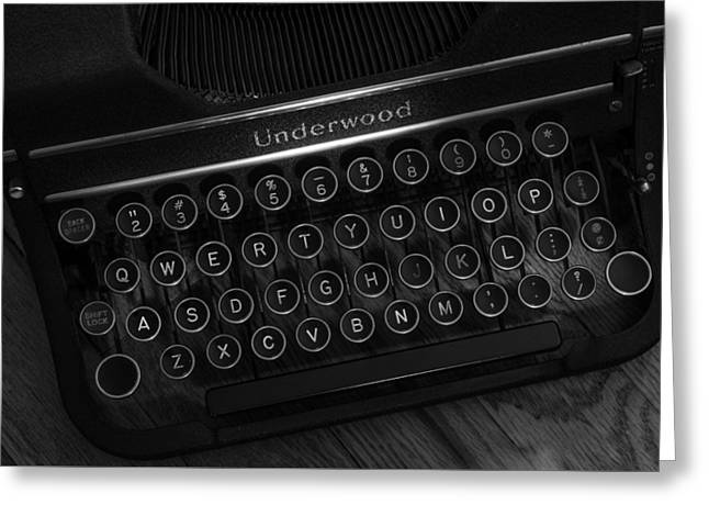 Manual Greeting Cards - Vintage Underwood Typewriter Black and White Greeting Card by Terry DeLuco