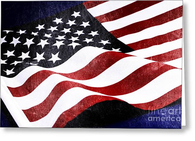 Wwi Greeting Cards - Vintage USA Stars and Stripes flag for national p Greeting Card by Milleflore Images