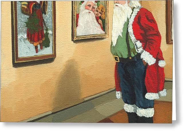 Linda Apple Greeting Cards - Vintage Victorian - Museum Santa Greeting Card by Linda Apple