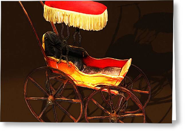 Vintage Victorian Stroller 20150921 Square Greeting Card by Wingsdomain Art and Photography