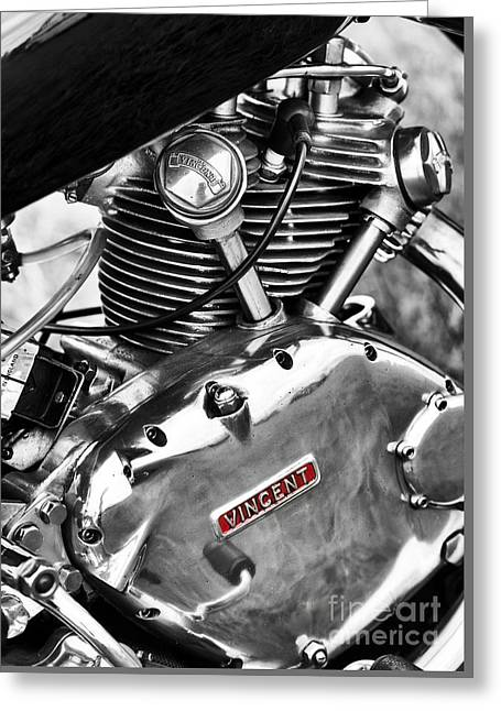 Comet Greeting Cards - Vintage Vincent Comet Engine Greeting Card by Tim Gainey