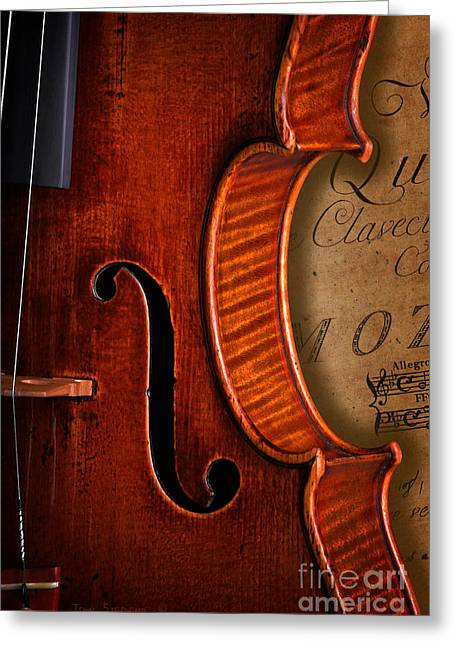 Vintage Violin With Antique Mozart Sheet Music Greeting Card by John Stephens