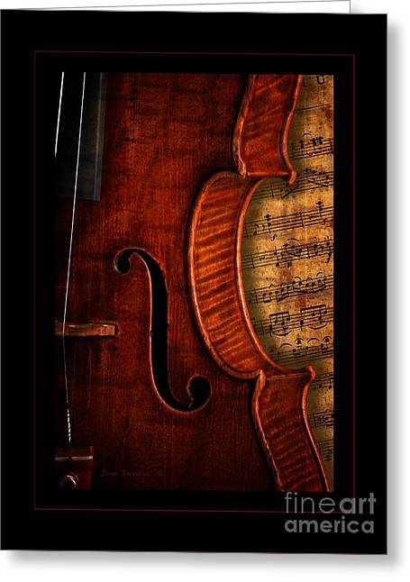Overture Greeting Cards - Vintage Violin With Antique Overture Sheet Music Greeting Card by John Stephens