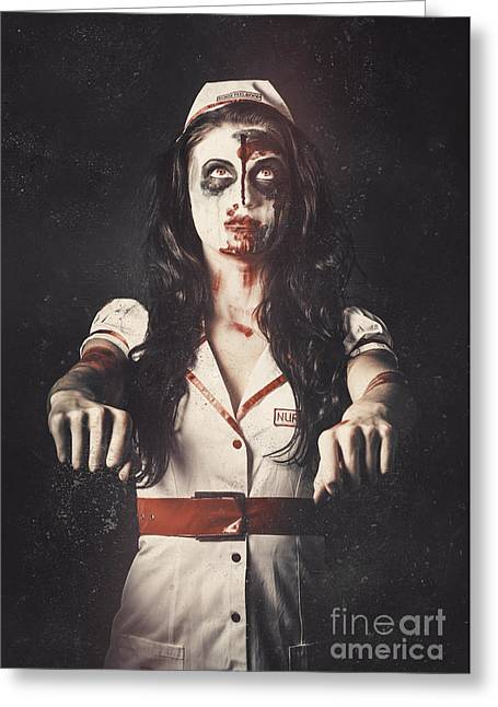 Vintage Walking Dead Horror Nurse Greeting Card by Jorgo Photography - Wall Art Gallery