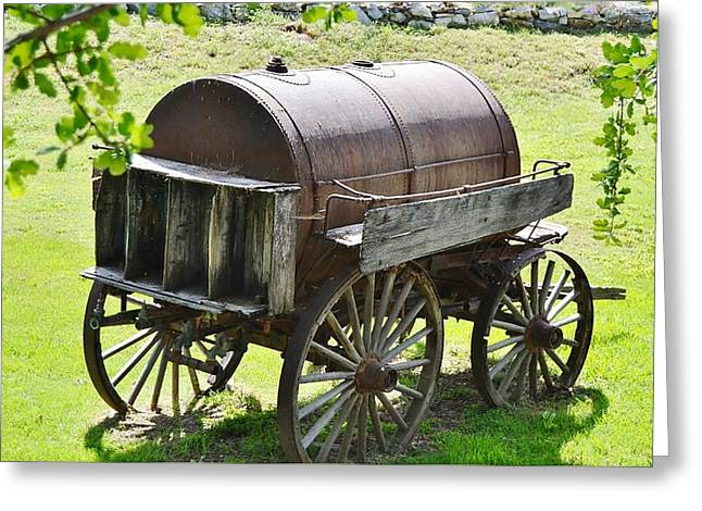Wine Cart Greeting Cards - Vintage Water Barrel Cart  Greeting Card by Cherie Cokeley