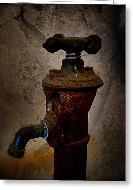 Vintage Water Faucet Greeting Card by Heinz G Mielke