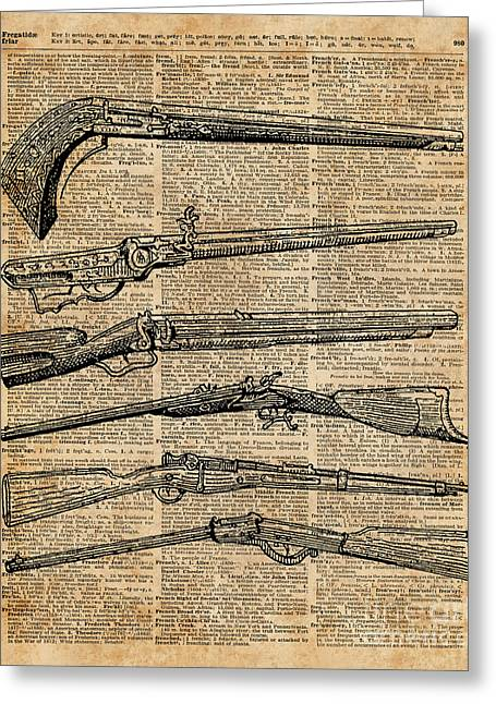 Vintage Weapons Antique Guns Dictionary Art Greeting Card by Jacob Kuch