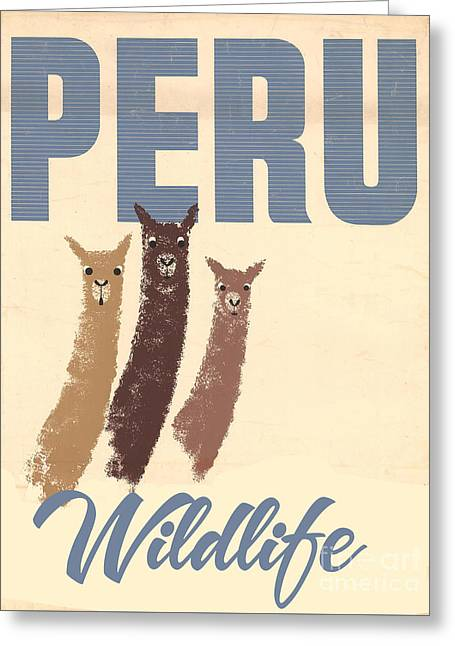 Vintage Wild Life Travel Llamas Greeting Card by Mindy Sommers