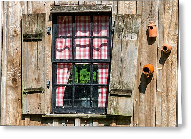 White Frame House Greeting Cards - Vintage Window Cuttalossa Farm PA Greeting Card by Terry DeLuco