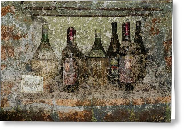 Wine Prints Greeting Cards - Vintage Wine Bottles - Tuscany  Greeting Card by Jen White